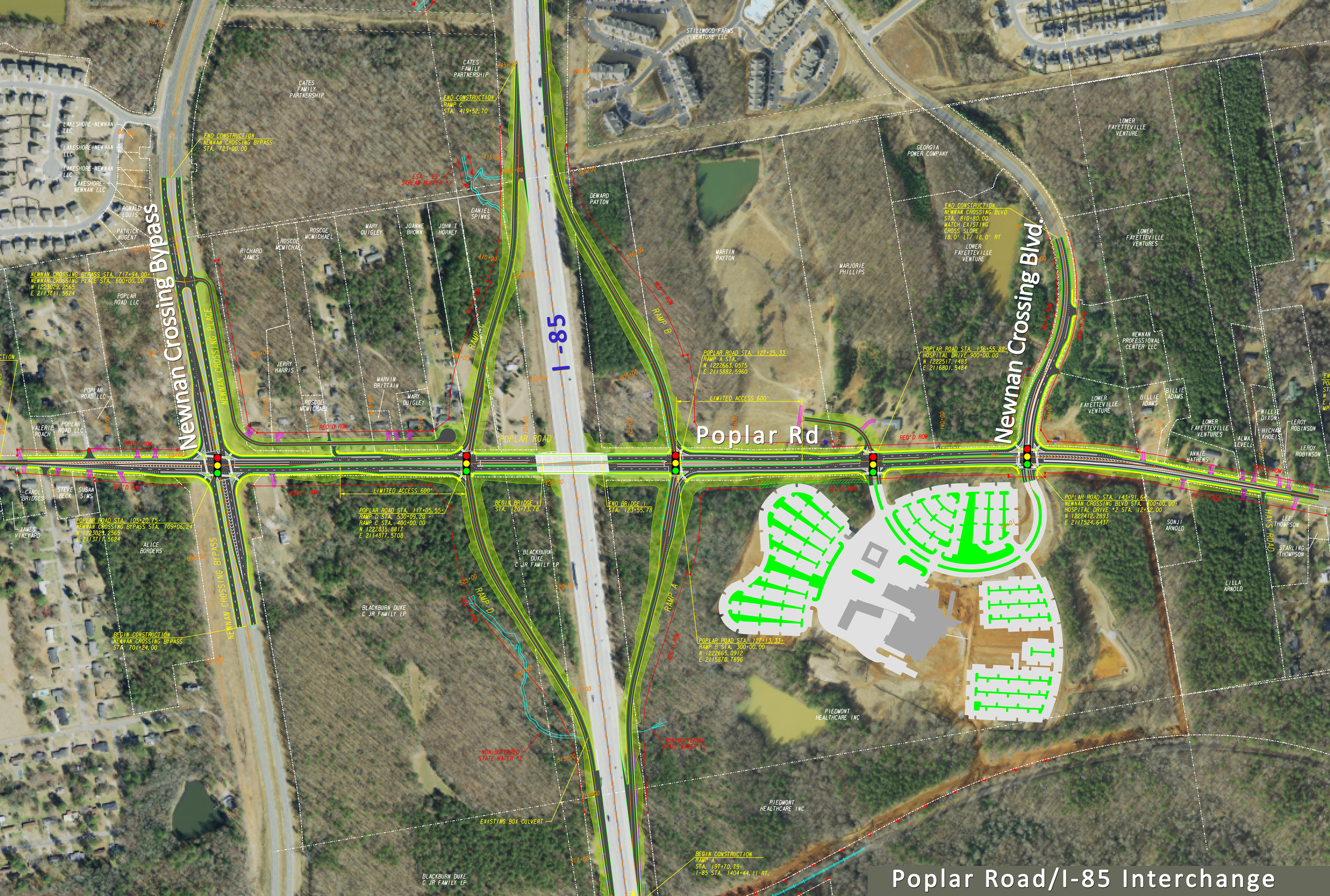 Overlay for future Poplar Road interchange